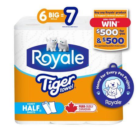 ROYALE® Tiger Towel à 2épaisseurs - fort - demi-feuilles pratiques - grands rouleaux - 6=7 rouleaux - image 1 de 7