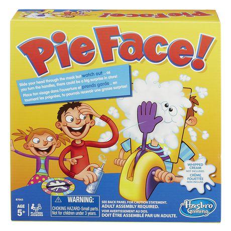 Pie Face jeu de société avec personnages de dessins animés fracassant la tarte sur les visages sur la couverture