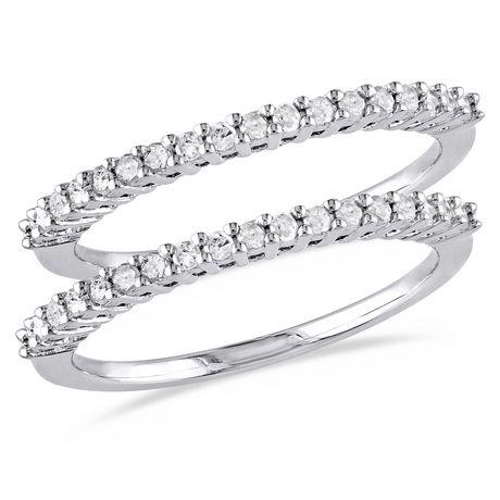 Ensemble 2 pièces de bagues d'anniversaires Miabella avec diamants 1/3 CT poids total en argent sterling - image 1 de 5