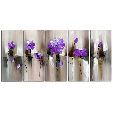 Peinture sur toile design art art moderne fleurs en mauve for Art moderne peinture