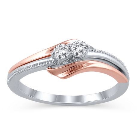 10K Rose and White Gold JK I2I3 Two Stone Diamond Ring