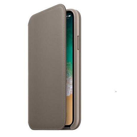 wholesale dealer cb519 48719 Apple Leather Folio Carrying Case for iPhone X, Taupe