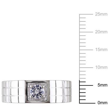 Bague stylisée Miabella pour homme en saphir blanc synthétique 0.33 ct TGW en argent sterling - image 2 de 4