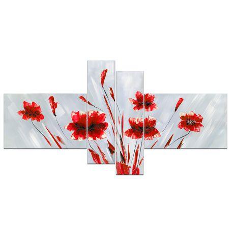 D coration murale sur toile design art abstrait rouge for Decoration murale walmart