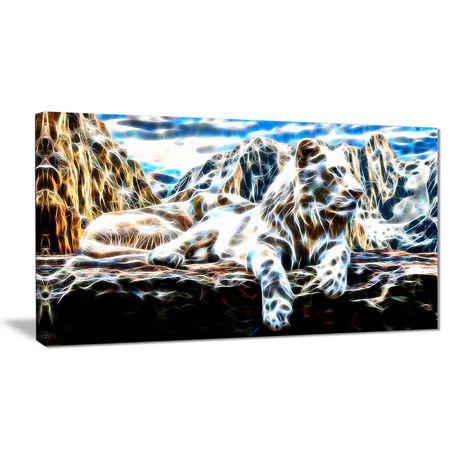 dcoration murale sur toile design art tigre blanc 1 panneau