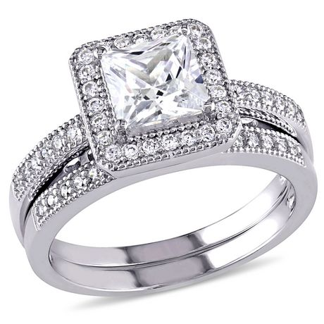 Miabella 2.34 Carat T.G.W. Princess and Round-Cut Cubic Zirconia Sterling Silver Bridal Set - image 1 of 4