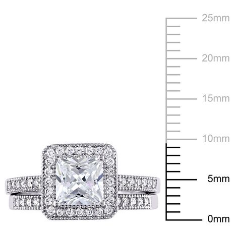 Miabella 2.34 Carat T.G.W. Princess and Round-Cut Cubic Zirconia Sterling Silver Bridal Set - image 3 of 4