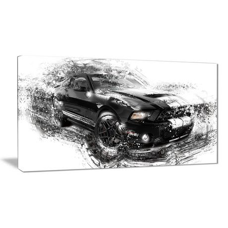 Design Art Black And White Muscle Car Canvas Wall Art - image 1 of 2