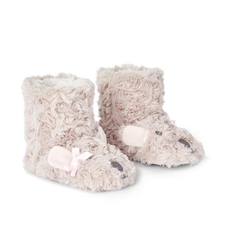 George Toddler Girls' Rose Fur Fuzzy Bootie Slippers - image 2 of 4