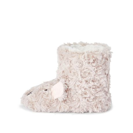 George Toddler Girls' Rose Fur Fuzzy Bootie Slippers - image 3 of 4