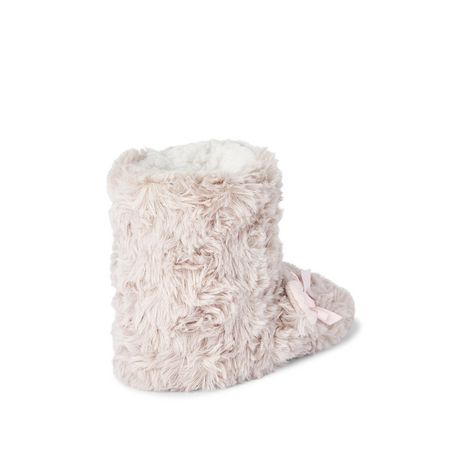 George Toddler Girls' Rose Fur Fuzzy Bootie Slippers - image 4 of 4