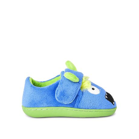 Blue and green slippers with monster face on the toes