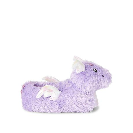 Purple and white fuzzy slippers with dragon head on the toes