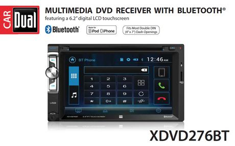 Dual Electronics XDVD276BT 6.2 inch LED Backlit LCD Multimedia Touch Screen Doub