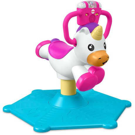 Plastic pink and white stationary unicorn ride-on toy with blue mat underneath, made by Fisher-Price
