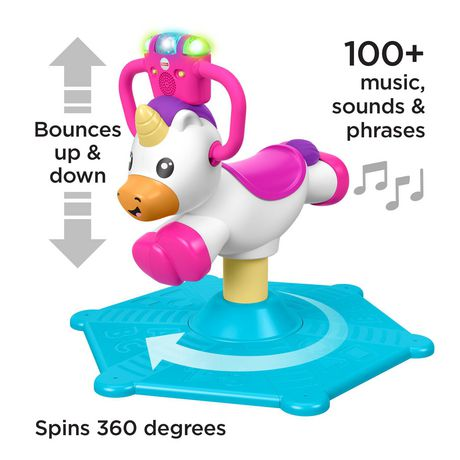 Fisher-Price Bounce and Spin Unicorn Stationary Ride-On Toy, English Version - image 4 of 9