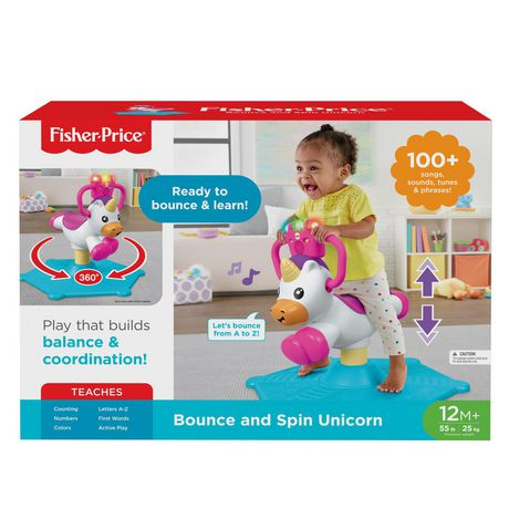 Fisher-Price Bounce and Spin Unicorn Stationary Ride-On Toy, English Version - image 6 of 9