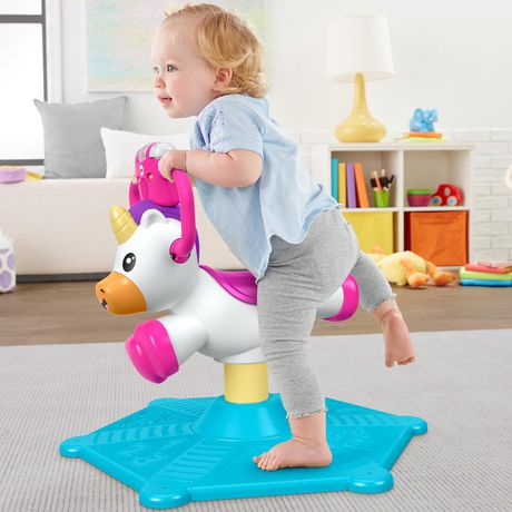 Fisher-Price Bounce and Spin Unicorn Stationary Ride-On Toy, English Version - image 8 of 9