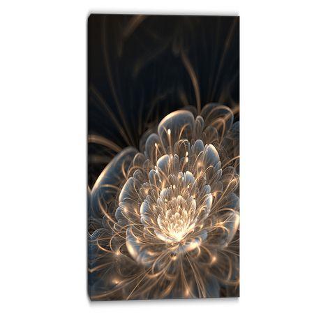 Tableau à toile imprimée florale Design Art Fleur fractale et rayons dorés - image 1 de 2