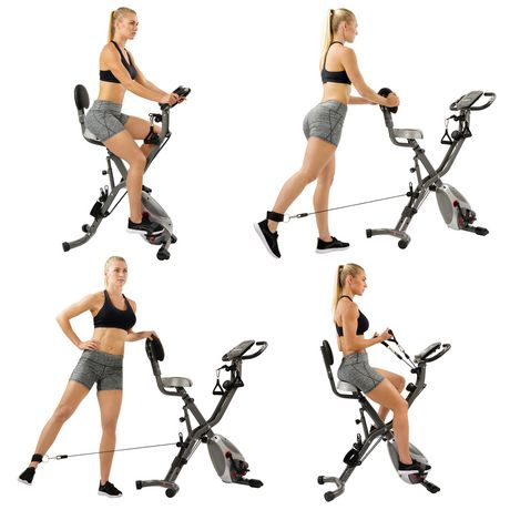 Sunny Health & Fitness Foldable Semi Recumbent Magnetic Upright Exercise Bike w/ Pulse Rate Monitoring, Adjustable Arm Resistance Bands And LCD Monitor - SF-B2710 - image 9 of 9