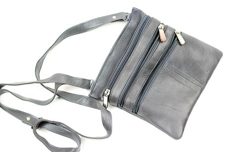 Zippered light grey leather sling bag purse by Champs