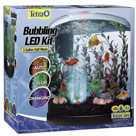 Ens Aquarium Demi Lune Del Tetra De 3 Gallons Avec