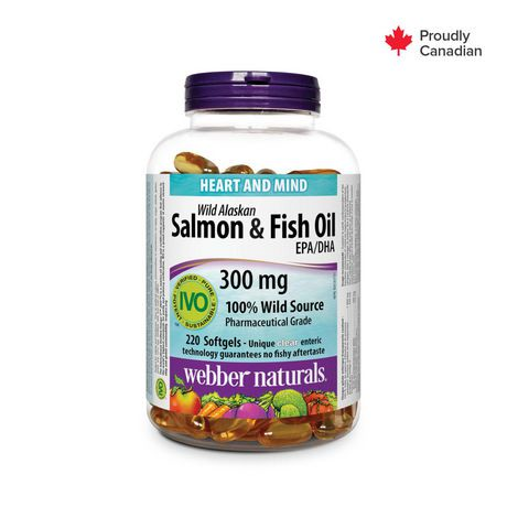 Webber naturals wild alaskan salmon fish oil 220 for Fish oil pills walmart