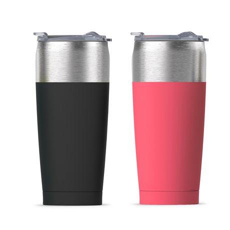 Deux mugs de voyage isolés à deux parois, sarcelle et saumon argentés, fabriqués par asobu by ADNART