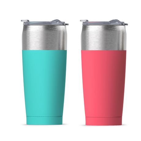Two teal and salmon-coloured silver-topped double wall insulated travel mugs, made by asobu by ADNART