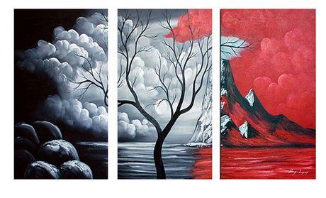 Design art paysage montagnes nuageux peinture l huile - Peinture sur toile design ...