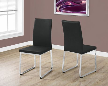 Monarch Specialties Black Leather Look Dining Chair