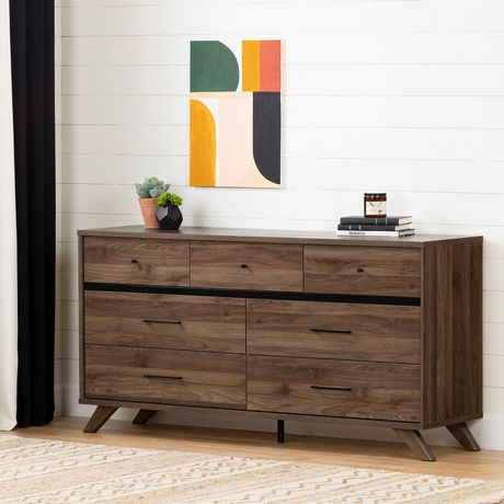 South Shore Flam 7-Drawer Double Dresser -Natural Walnut and Matte Black - image 1 of 7