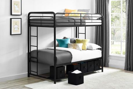 lit superpos twin twin mainstays avec bacs de rangement noir walmart canada. Black Bedroom Furniture Sets. Home Design Ideas