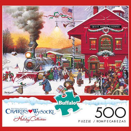 Casse-tête 500 Piece - Americana Collection - Whistle Stop Christmas - Jigsaw de Buffalo Games - image 1 de 2