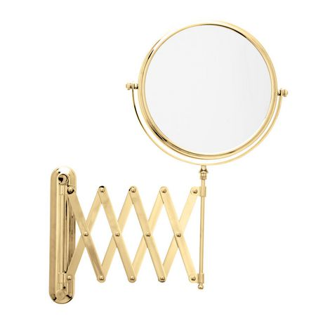 Danielle magnifying extendable wall mount mirror gold for Miroir danielle