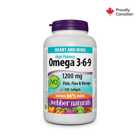 Webber Naturals® Omega 3-6-9 High Potency Fish, Flax & Borage, 1200 mg - image 1 of 4