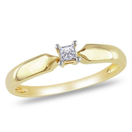 Miabella 0 10 Carat T W Princess Cut Diamond 10 K Yellow Gold