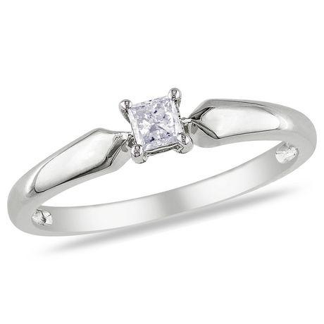 Bague de fiançailles Miabella avec 0.20 carat de diamant solitaire de coupe princesse en or jaune 10k - image 1 de 3