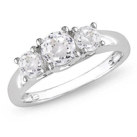 Bague de fiançailles Miabella avec 1.33 carat de saphirs blancs en or blanc 10 K - image 1 de 3