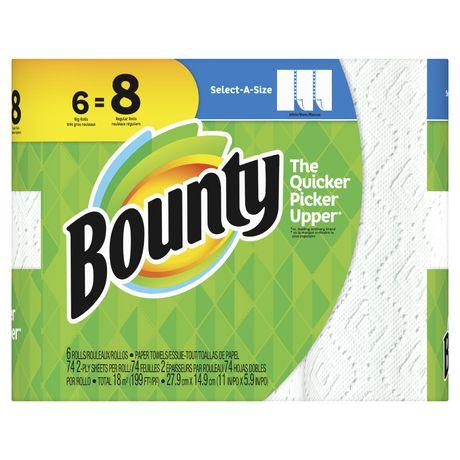 Bounty Select A Size Paper Towels White 6 Big Rolls Walmart Canada