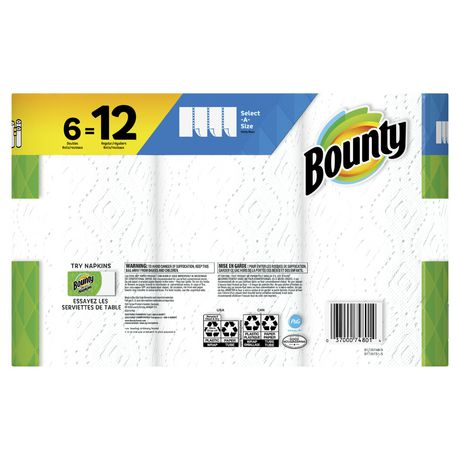 Bounty Select-A-Size Paper Towels, White, 6 Double Rolls - image 2 of 6