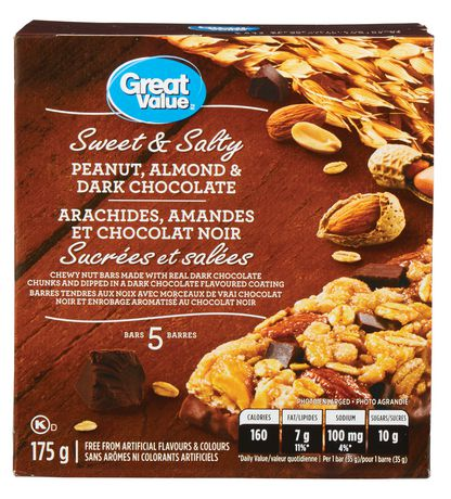 Great Value Sweet & Salty Peanut, Almond & Dark Chocolate Bars - image 1 of 4