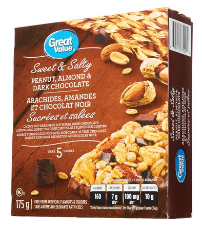 Great Value Sweet & Salty Peanut, Almond & Dark Chocolate Bars - image 2 of 4