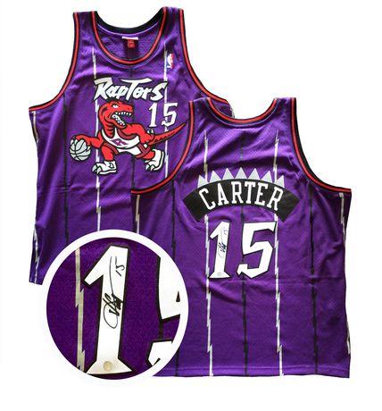 huge discount a2d07 9ed83 Vince Carter Signed Jersey Raptors Replica Purple 1995-1998 ...