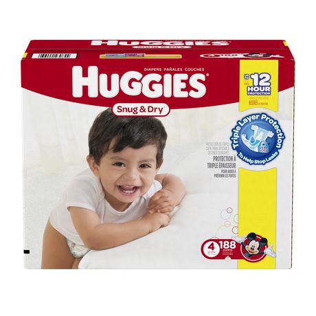 HUGGIES Size Four Snug & Dry Diapers give your baby great protection at a great value. Four layers of protection absorb moisture quickly to help stop leaks for up to 12 hours, and a quilted liner helps to keep your baby dry and allxpreswts.mls: K.