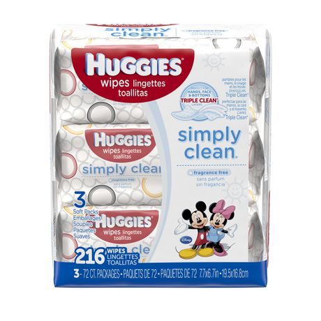 Huggies Simply Clean Baby Wipes Unscented Soft Pack