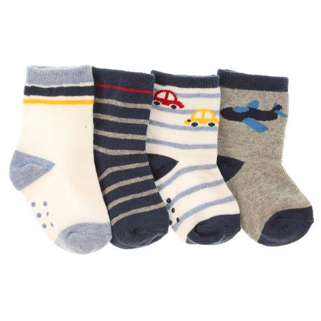 George Infant Boys 4pk Crew Socks with Grippers - image 1 of 2