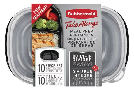 Rubbermaid TakeAlongs 3.7-Cup Food Storage Containers with Divided Base, 10-Piece Set, Black - image 7 of 7