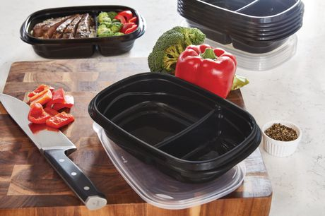 Rubbermaid TakeAlongs 3.7-Cup Food Storage Containers with Divided Base, 10-Piece Set, Black - image 2 of 7