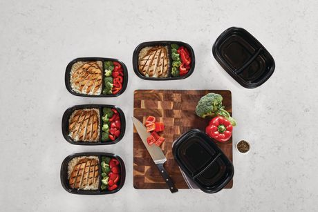 Rubbermaid TakeAlongs 3.7-Cup Food Storage Containers with Divided Base, 10-Piece Set, Black - image 4 of 7